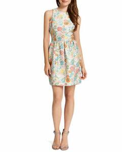 Cynthia-Steffe-Women-039-s-Size-6-Tangerine-Floral-Lola-Sparkle-Jacquard-Dress