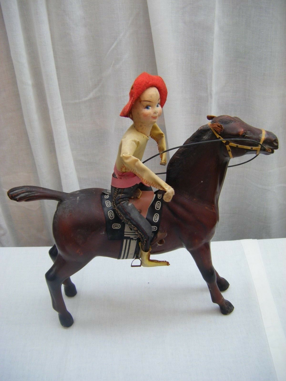 Rare Vintage 1950s Hopla Tin Mechanical Horse and Rider & Key -  Made in