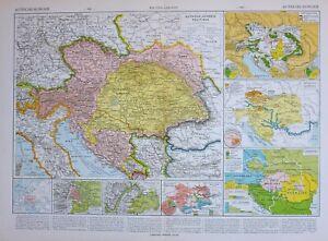 1913-MAP-AUSTRIA-HUNGARY-BOSNIA-SERBIA-BOHEMIA-VIENNA-RELIGIONS-INDUSTRY