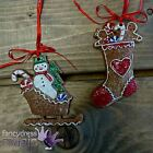 Gisela Graham Hanging Gingerbread Christmas Xmas Tree Sleigh Stocking Decoration