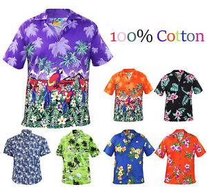 Uomo-True-Face-Motivo-Hawaiano-Retro-100-Cotton-Camicia-Hula-Ghirlanda