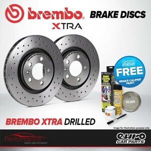 Brembo Xtra Rear Vented High Carbon Drilled Brake Disc Pair Discs x2 09.7702.1X
