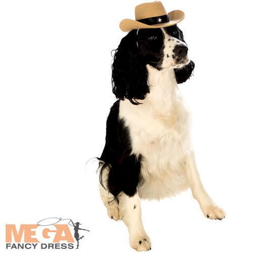 Cowboy Hat Dog Fancy Dress Wild West Bounty Sheriff Animal Pet Costume Accessory
