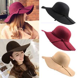 Fashion-Vintage-Women-Lady-Floppy-Wide-Brim-Wool-Felt-Fedora-Cloche-Hat-Cap-lot