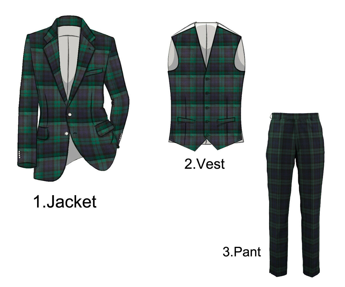 Men's Scottish TARTAN  BLAZER With Waistcoat Vest and Pant in All Sizes