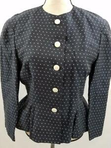 Louis-Feraud-Womens-8-Navy-Blue-White-Polka-Dot-Peplum-Jacket-Blazer-Jacket-Coat