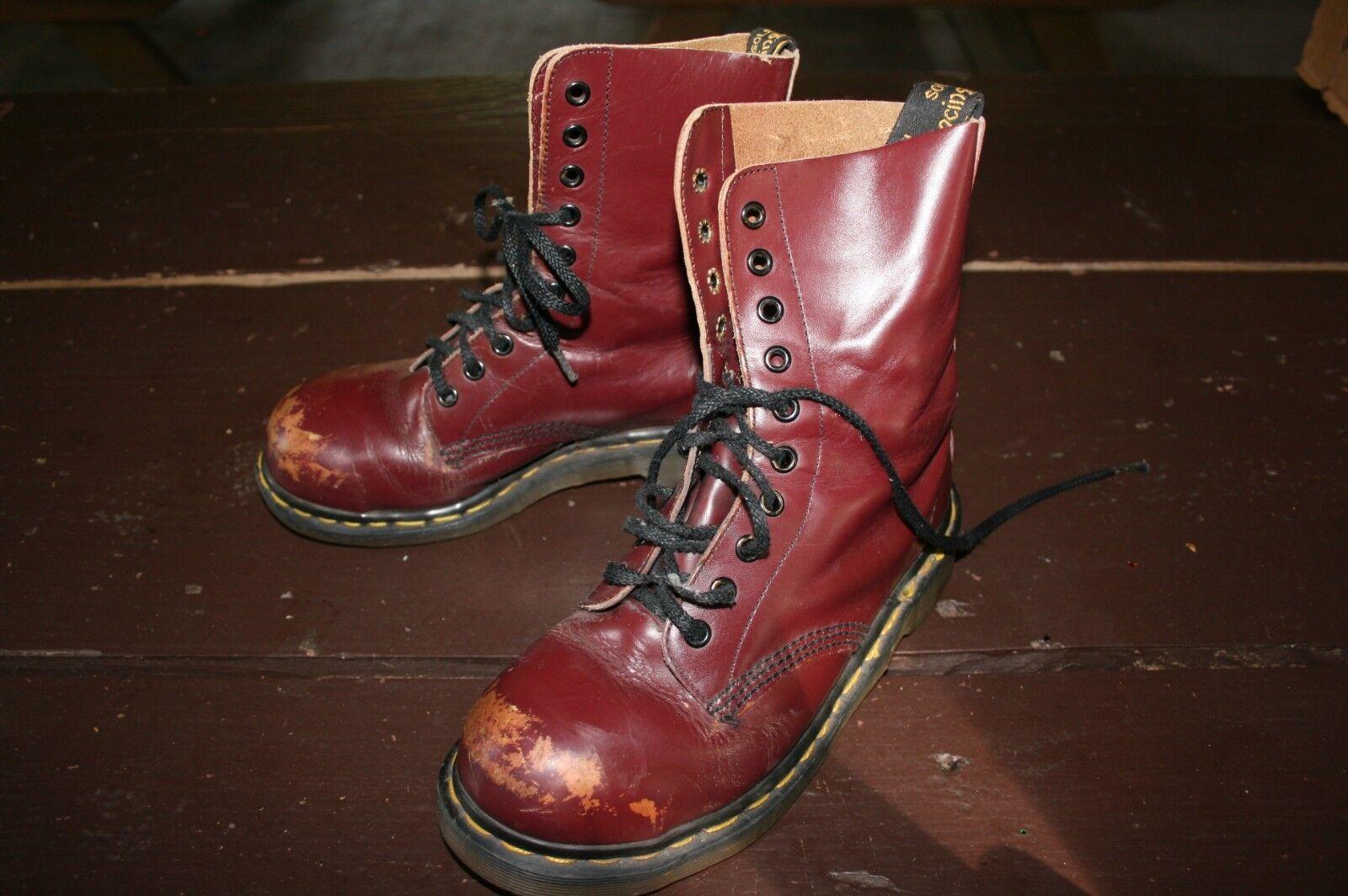 ENGLAND DR DOC MARTENS uk 4 Damens 6 Oxblood Leder Combat 10 Eye Steel Toe Combat Leder Boot 398ad3