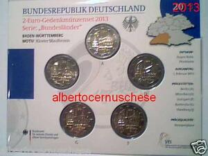 5 x 2 euro 2013 fdc UNC Germania Allemagne Alemania Maulbronn Baden Württemberg