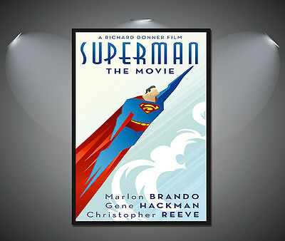 Superman Movie Vintage Art Deco Comic Poster - A1, A2, A3, A4 sizes