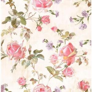 Wallpaper-Designer-Pink-Red-Lavender-White-Gold-Green-Rose-Trail-on-Cream-Faux