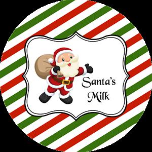 SANTAS MILK CHRISTMAS ROUND STICKERS LABELS GIFT TAGS MATT OR GLOSS FINISH