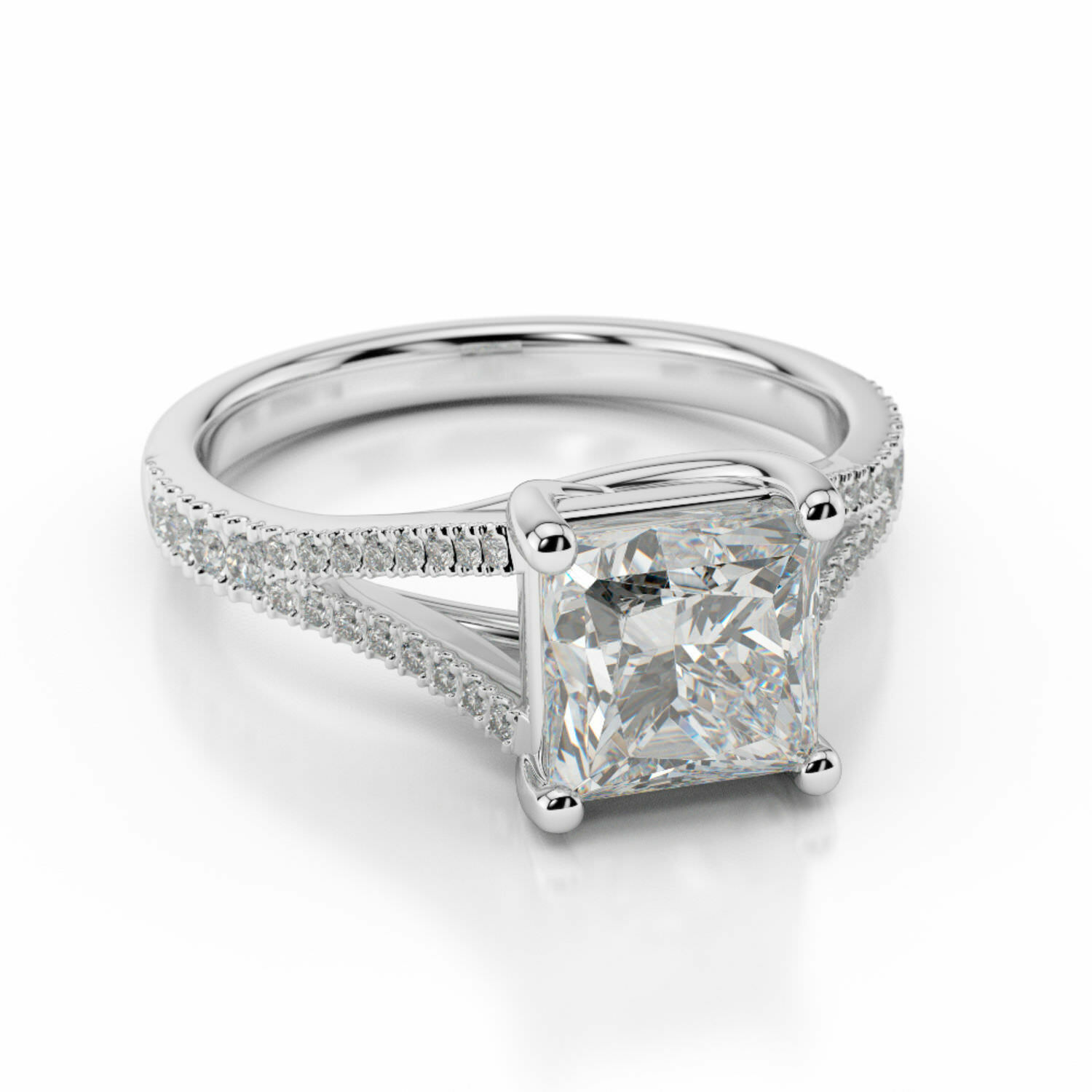1.60 Ct Princess Cut Diamond Engagement Ring 14K Solid White gold Rings Size 6 7