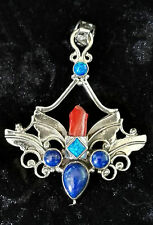 Red Coral Blue Lapis Fire Opal Silver Pendant Fairy Angel Wings Egyptian Hathor