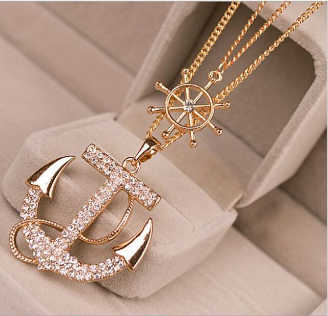 Fashion Women Alloy Crystal Rhinestone Charm Gold Plated Anchor Sweater Necklace