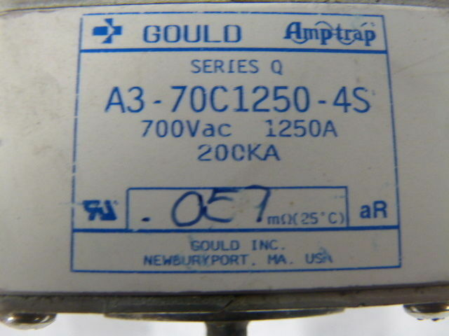 Gould Amp-Trap A3-70C1250-4S Series Q Square Body Fuse 1250A 700VAC  USED