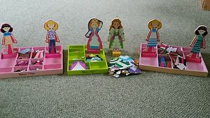 Melissa-and-Doug-Magnetic-Dolls-Clothes-Stands-Etc-Lot-of-156-Pieces