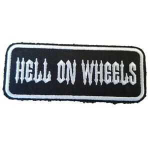 HELL-ON-WHEELS-Biker-jacket-Iron-On-Patch-words-slogan-text-patch