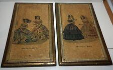 """Pair """"1843 Mode de Paris"""" wood plaques gilt gold frame Ladies 15 x 8"""