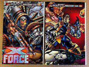 X-Force-50-Rob-liefeld-Foil-Non-Foil-Set-Cable-Deadpool-Domino-Marvel-1996-NM