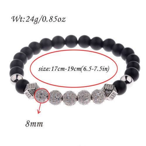 Luxe 7 Pieces Argent Zircon Balles Tissé à la main 8 mm mat Lava Perles Bracelets