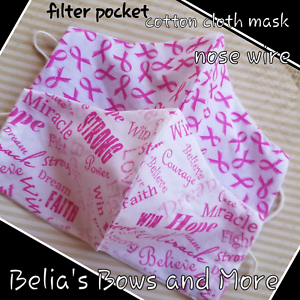 SET of 2 Breast Cancer Awareness Adult Large Washable Fabric Mask with pocket