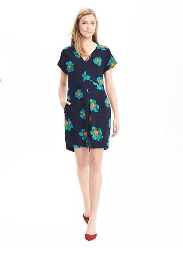 Banana Republic M 10 12 Navy bluee turquoise Floral dress A line short sleeve EUC