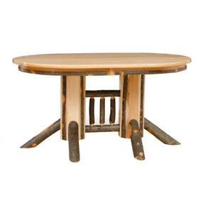 Hickory Double Pedestal Oval Dining Table Size Wood Options - 72 oval dining table