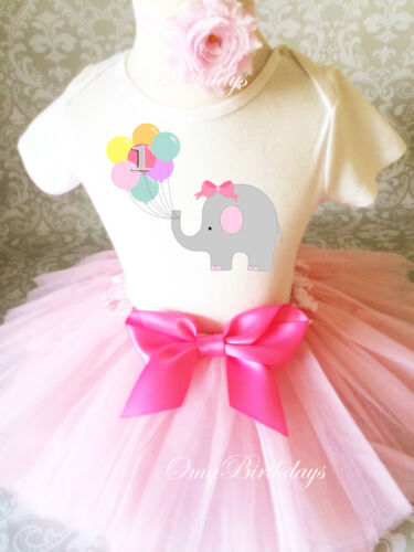 Pink Elephant w// balloons 1st Girl Birthday Tutu Outfit Shirt Set Party Dress