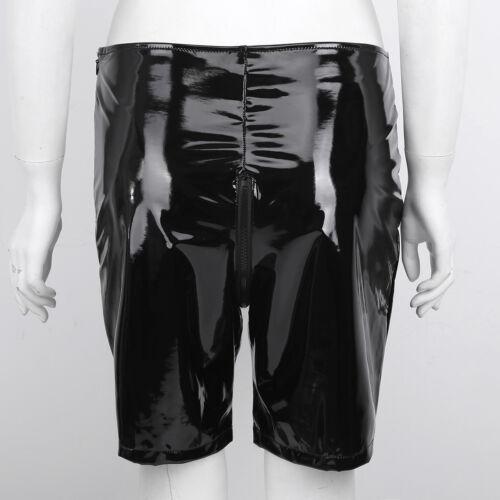 Damen Welook Lack Leder Enge Shorts Pants Kurz Hose mit Reißverschluss Schwarz