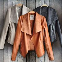 New Women Punk Slim Biker Motorcycle Short Jacket Lapel PU Leather Coat Outwear