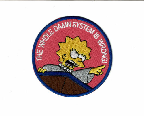 Lisa Simpson Iron On Embroidered Patch patches the whole damn system is wrong