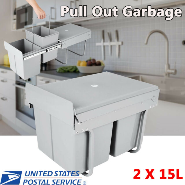 Under Kitchen Cabinet Double Pull Out Trash Can With Lid 30 L 8 Gal