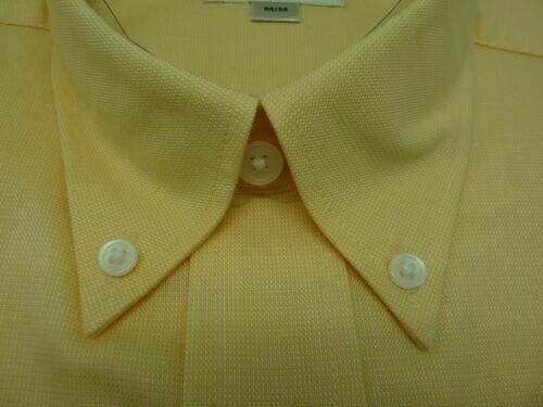 Cutter /& Buck Men/'s Yellow Button Down Wrinkle Resistant Dress LS Shirt M