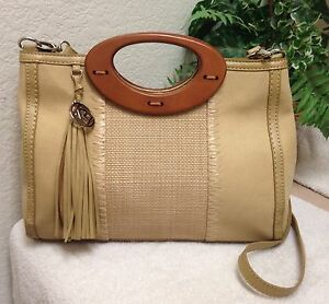 Relic-Beige-Canvas-Leather-Trim-Shoulder-Handbag-Satchel-Bag-Tassel