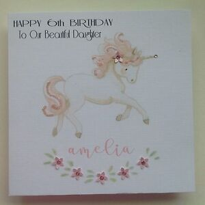 Image Is Loading PERSONALISED Handmade BIRTHDAY Card UNICORN 4 5 6