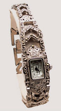 MAJESTRON:WOMEN'S ANTIQUE MARCASITE SILVER FINISH CASE ANALOGE QUARTZ WATCH