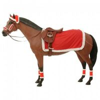 Christmas Horse Santa Claus Costume Hat Sheet Leg Wraps Bells Halter 9 Pc Set