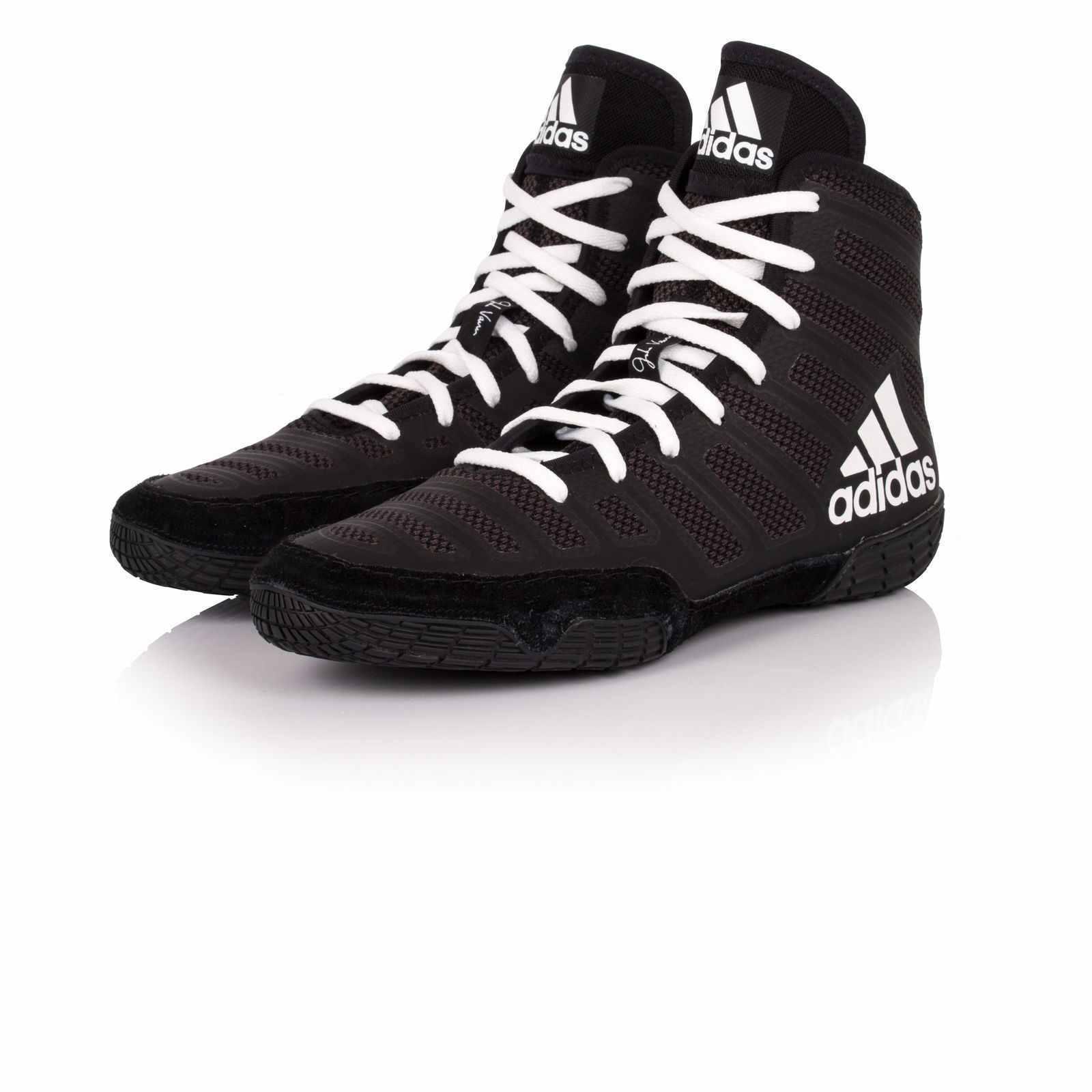Adidas Adizero Varner Wrestling shoes Black & White Boots Trainers Pumps