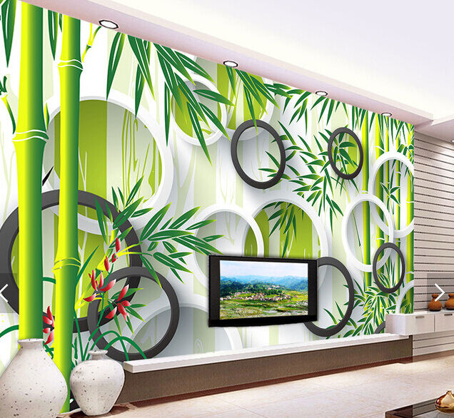 3D Grüner Bambusbaum 9879 Fototapeten Wandbild Fototapete BildTapete Familie DE