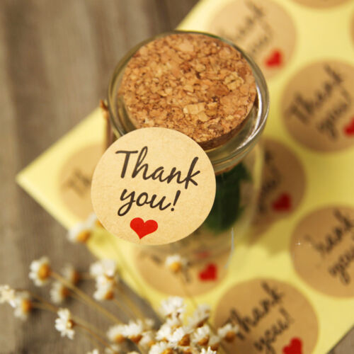 "60Pcs /""Thank You/"" Craft Packaging Seals Kraft Sealing Sticker Label Cute Paper"