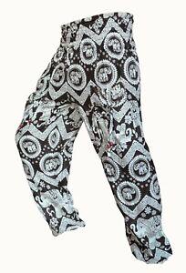 Harem Trousers Om Design 100/% Indian Cotton Aladdin Hareem Pants Elephant Hippie