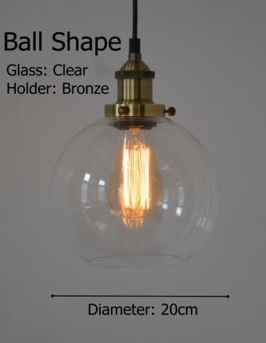 NEW MODERN VINTAGE INDUSTRIAL RETRO LOFT GLASS CEILING LAMP SHADE PENDANT LIGHT