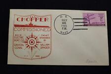 NAVAL COVER 1945 HAND CANCEL WORLD WAR 2 COMMISSION USS CHOPPER (SS-342) (1269)