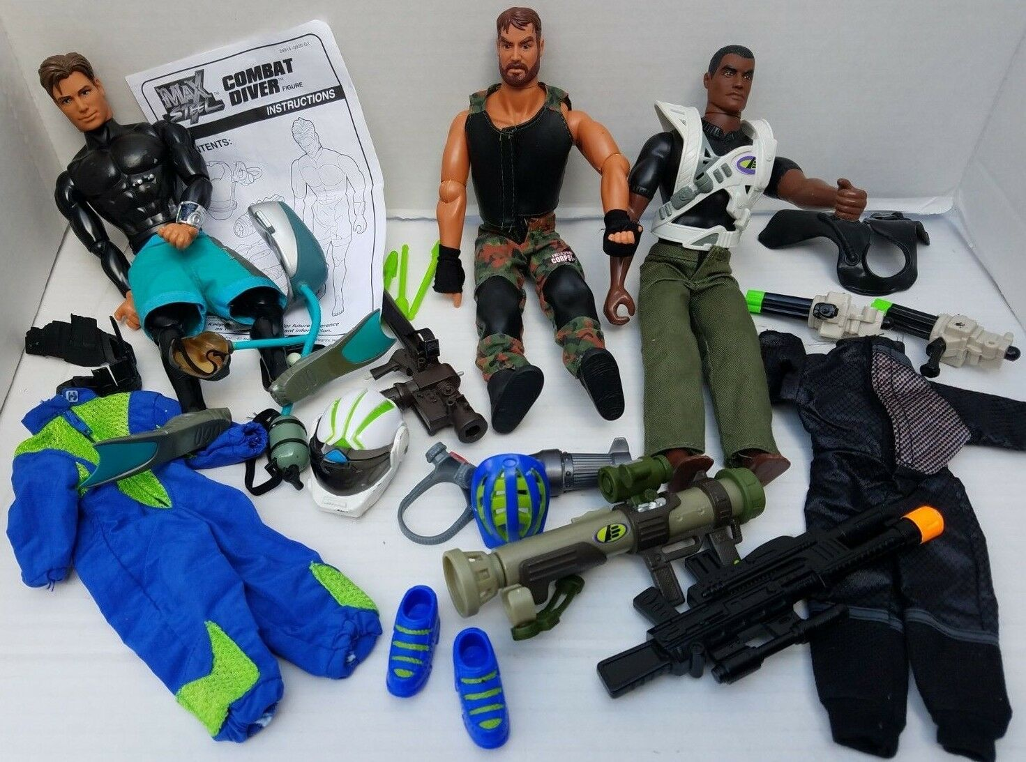 3 Max Steel Combat Diver African American Doll Corps Action Figure Lanard 1999