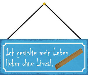 Leben Without Ruler Fashion Shield with Cord Metal Tin Sign 10 X 27 CM K0728-K