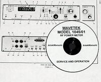 Wavetek 1045 / 01 Rf Power Meter, Service And Operation Manual