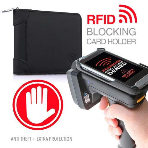 Mens Genuine Leather Zip Around Wallet ID Card Window RFID Secure Zipper Bifold