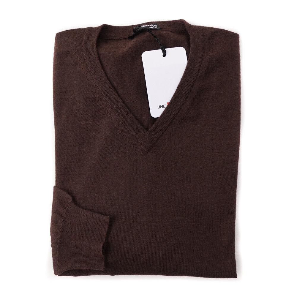 NWT 1995 KITON Chocolate Braun Superfine Cashmere-Silk Sweater M (Eu 50)