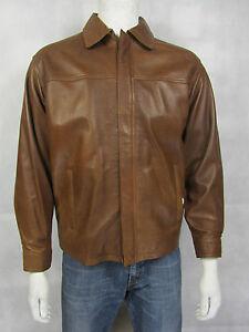Rock chiaro New Biker Man Harrington uomo cognac pelle vera in marrone Camicia stile XUFqOzwW