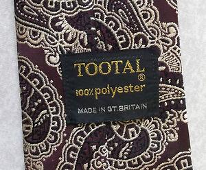 AgréAble Vintage Tootal Cravate Homme Large Cravate Rétro Fashion Foncé Bordeaux Paisley-afficher Le Titre D'origine